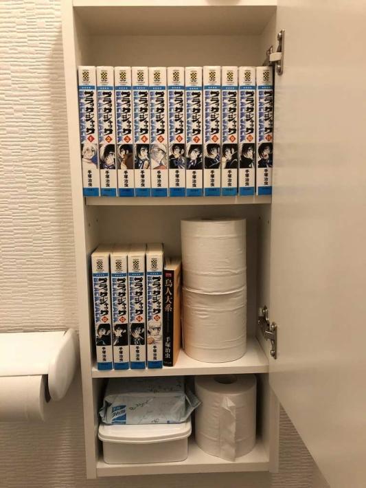トイレの棚の中の本